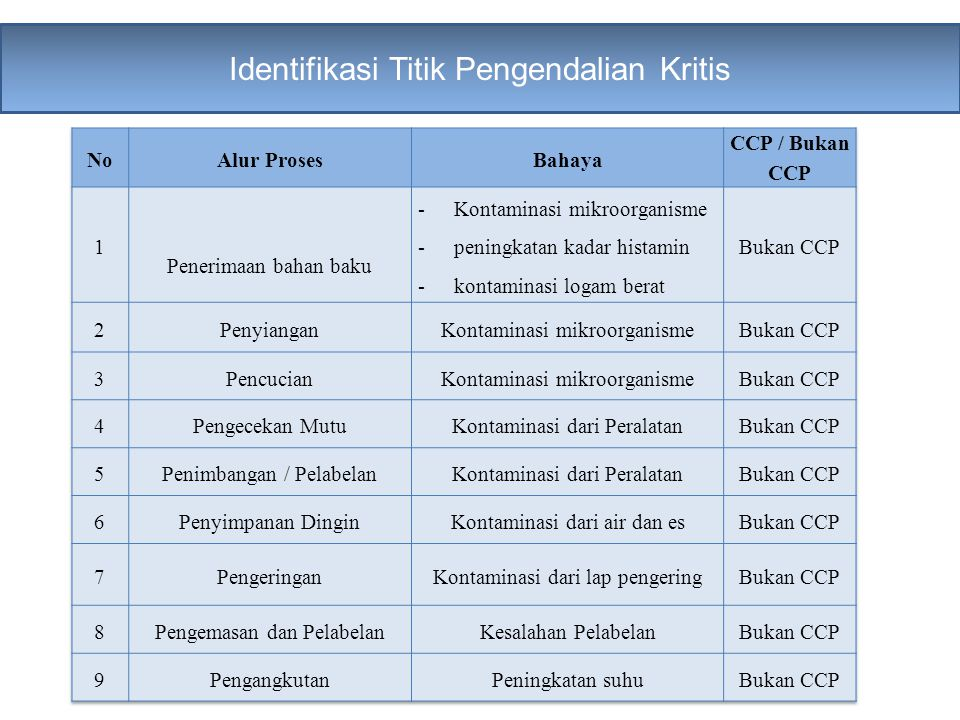 Identifikasi Titik Pengendalian Kritis