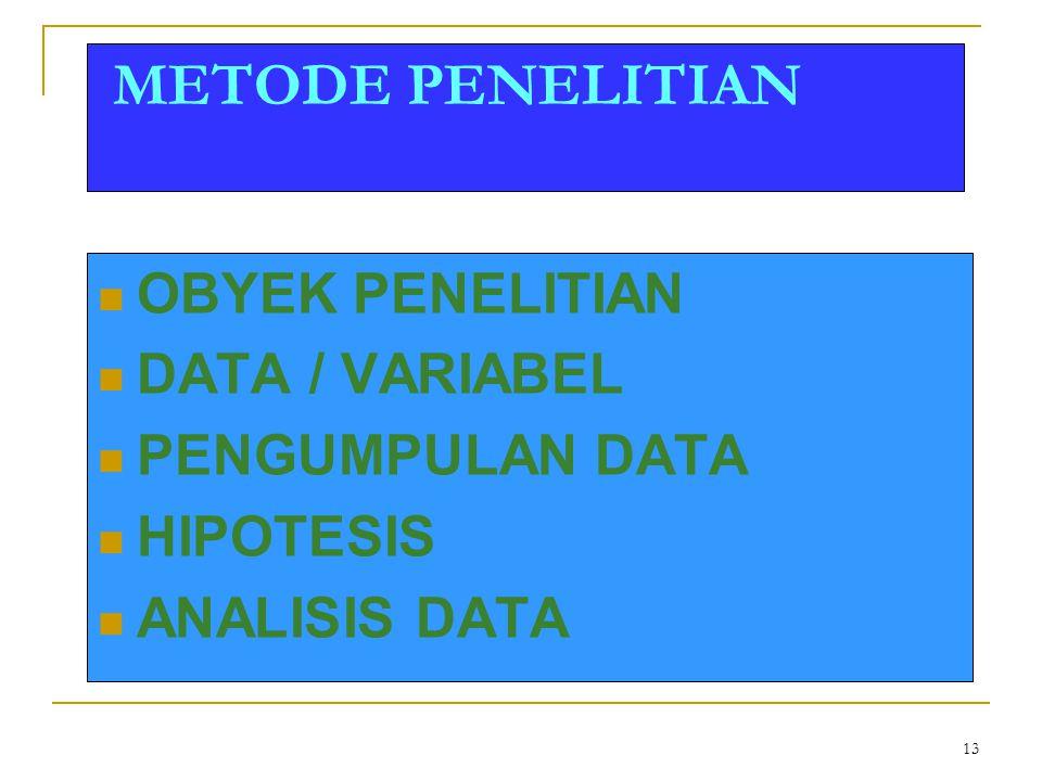 METODE PENELITIAN OBYEK PENELITIAN DATA / VARIABEL PENGUMPULAN DATA