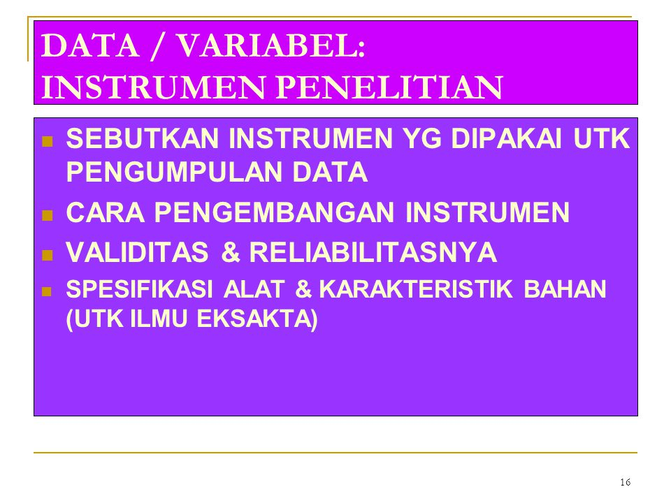 DATA / VARIABEL: INSTRUMEN PENELITIAN
