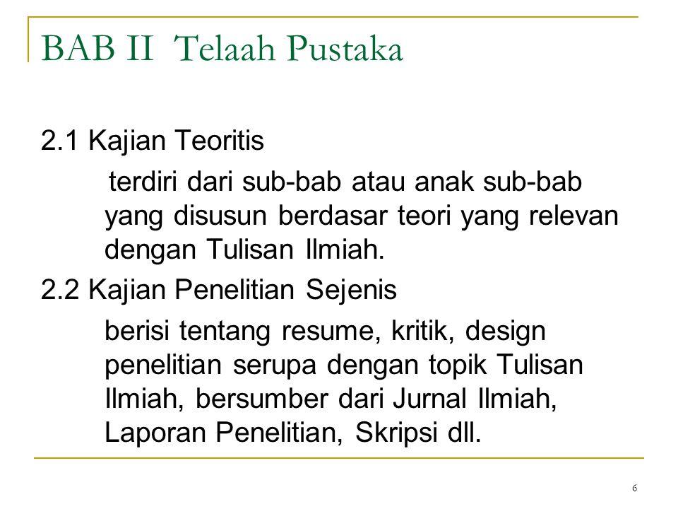 BAB II Telaah Pustaka 2.1 Kajian Teoritis