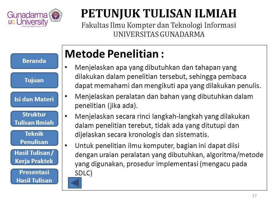 Metode Penelitian :