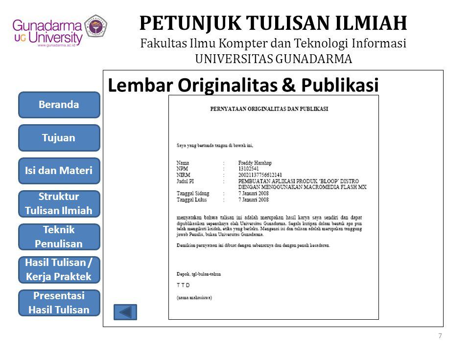 Lembar Originalitas & Publikasi