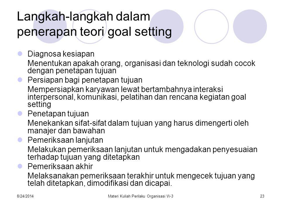 Langkah-langkah dalam penerapan teori goal setting