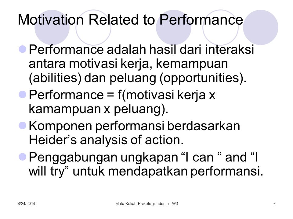 Motivation Related to Performance