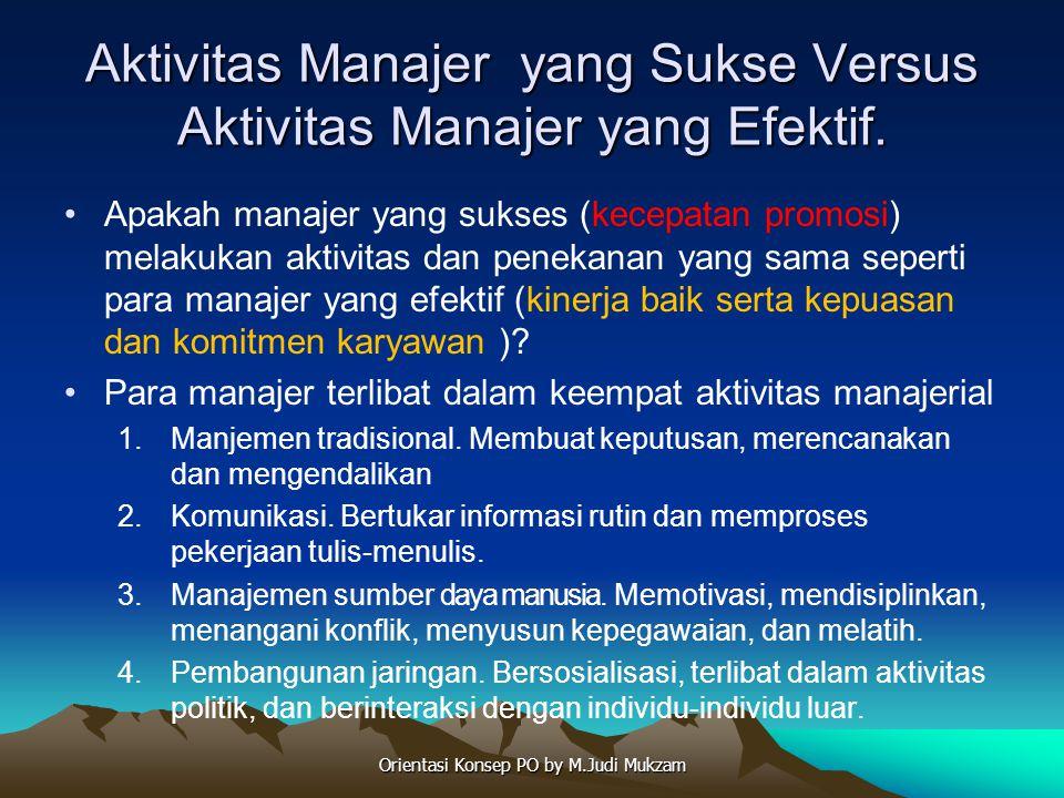 Aktivitas Manajer yang Sukse Versus Aktivitas Manajer yang Efektif.