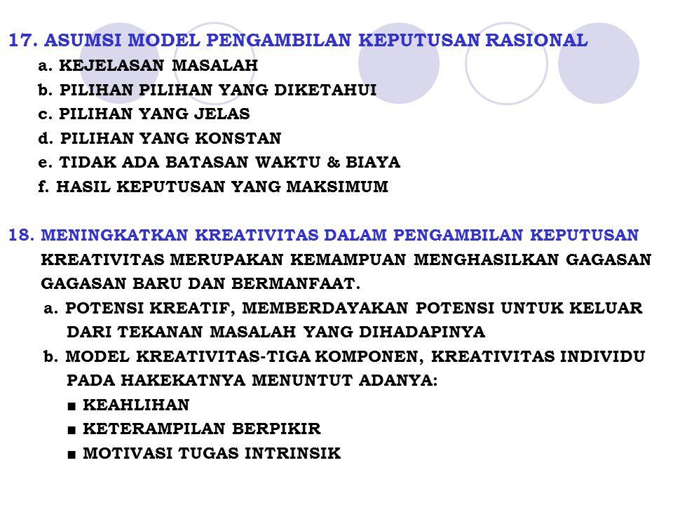 17. ASUMSI MODEL PENGAMBILAN KEPUTUSAN RASIONAL