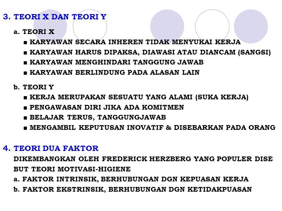 3. TEORI X DAN TEORI Y 4. TEORI DUA FAKTOR a. TEORI X