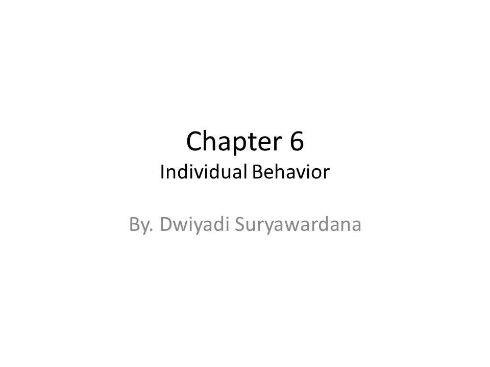 Chapter 6 Individual Behavior