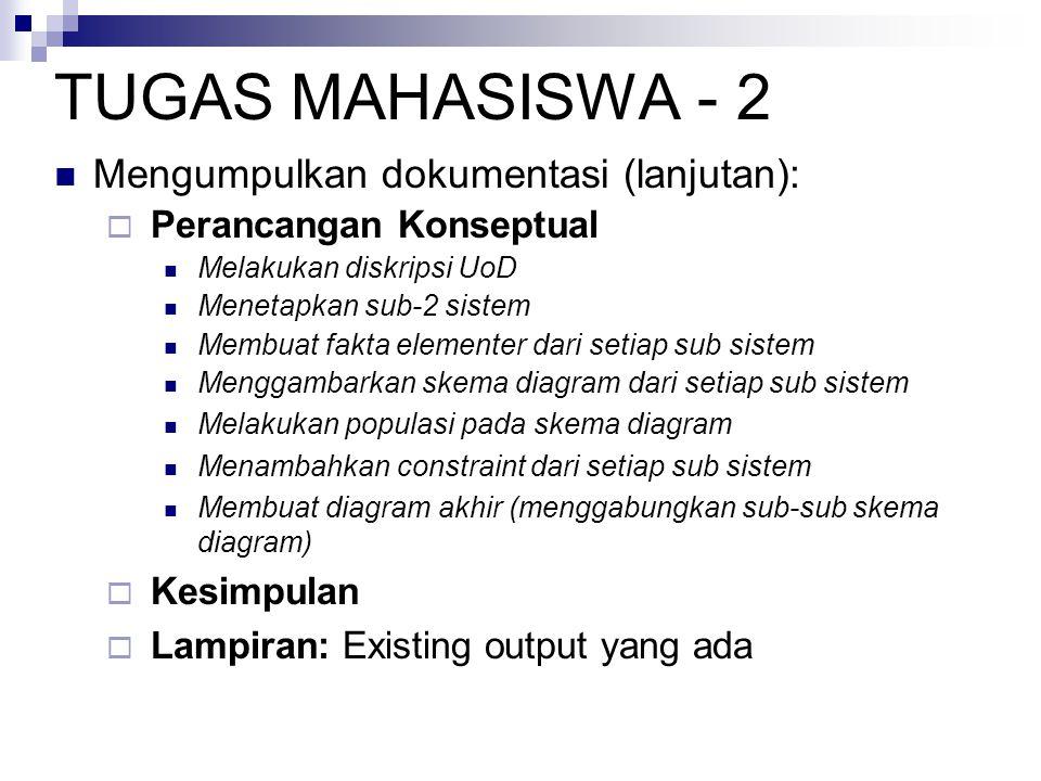 TUGAS MAHASISWA - 2 Mengumpulkan dokumentasi (lanjutan):