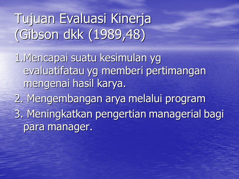 Tujuan Evaluasi Kinerja (Gibson dkk (1989,48)