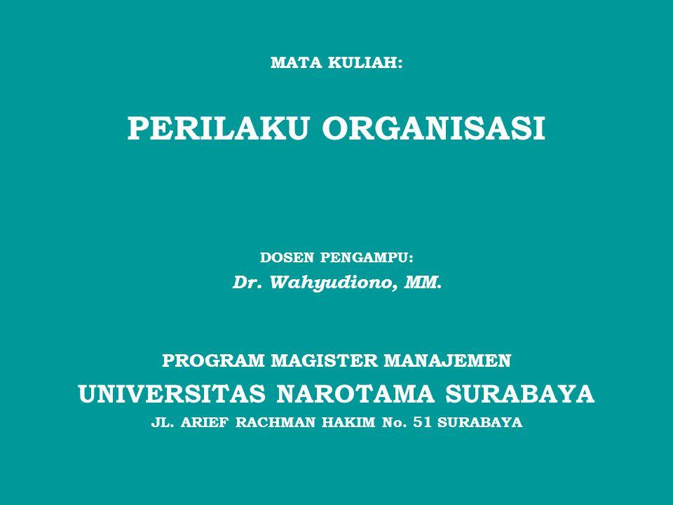 PERILAKU ORGANISASI UNIVERSITAS NAROTAMA SURABAYA Dr. Wahyudiono, MM.