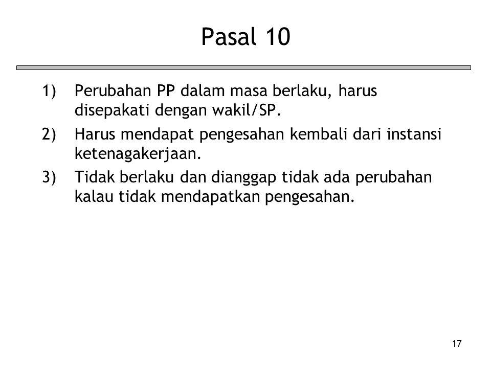 Pasal 10 Perubahan PP dalam masa berlaku, harus disepakati dengan wakil/SP. Harus mendapat pengesahan kembali dari instansi ketenagakerjaan.