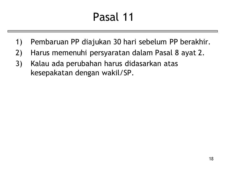 Pasal 11 Pembaruan PP diajukan 30 hari sebelum PP berakhir.
