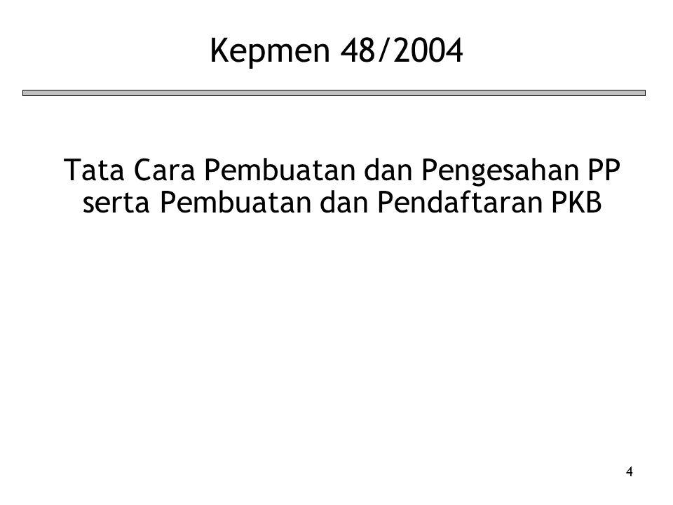 Kepmen 48/2004 Tata Cara Pembuatan dan Pengesahan PP serta Pembuatan dan Pendaftaran PKB