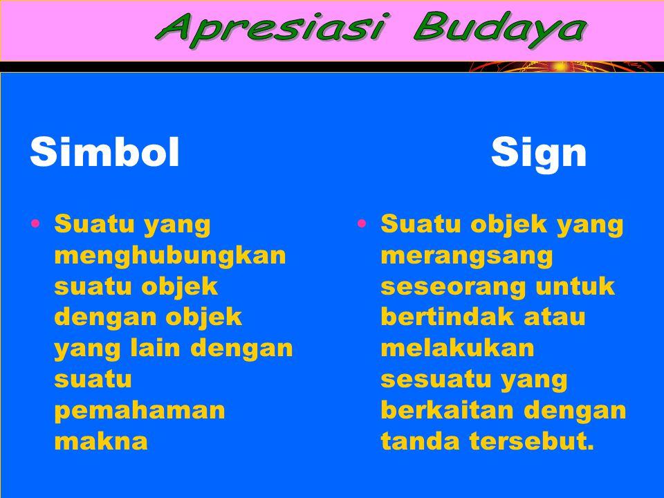 Apresiasi Budaya Simbol Sign. Suatu yang menghubungkan suatu objek dengan objek yang lain dengan suatu pemahaman makna.