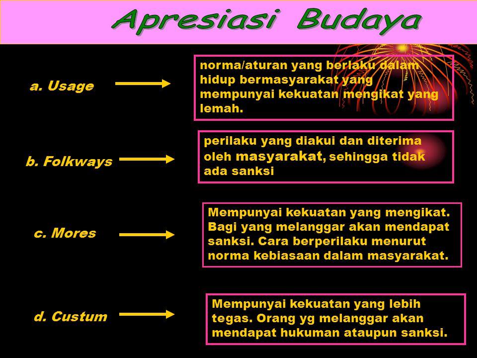 Apresiasi Budaya a. Usage b. Folkways c. Mores d. Custum