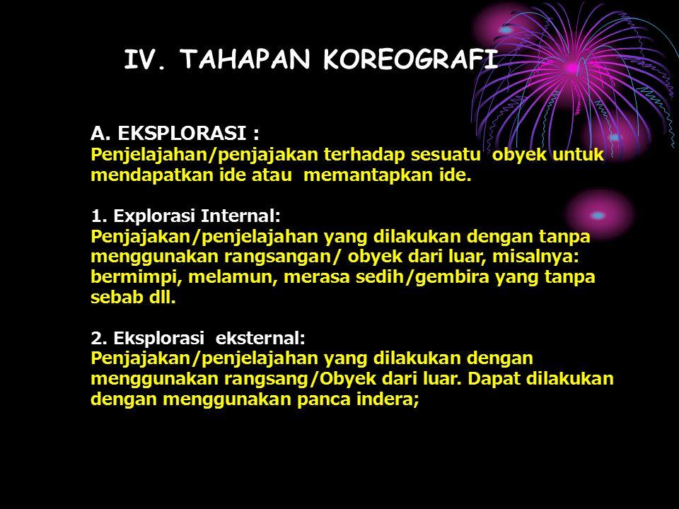 IV. TAHAPAN KOREOGRAFI A. EKSPLORASI :