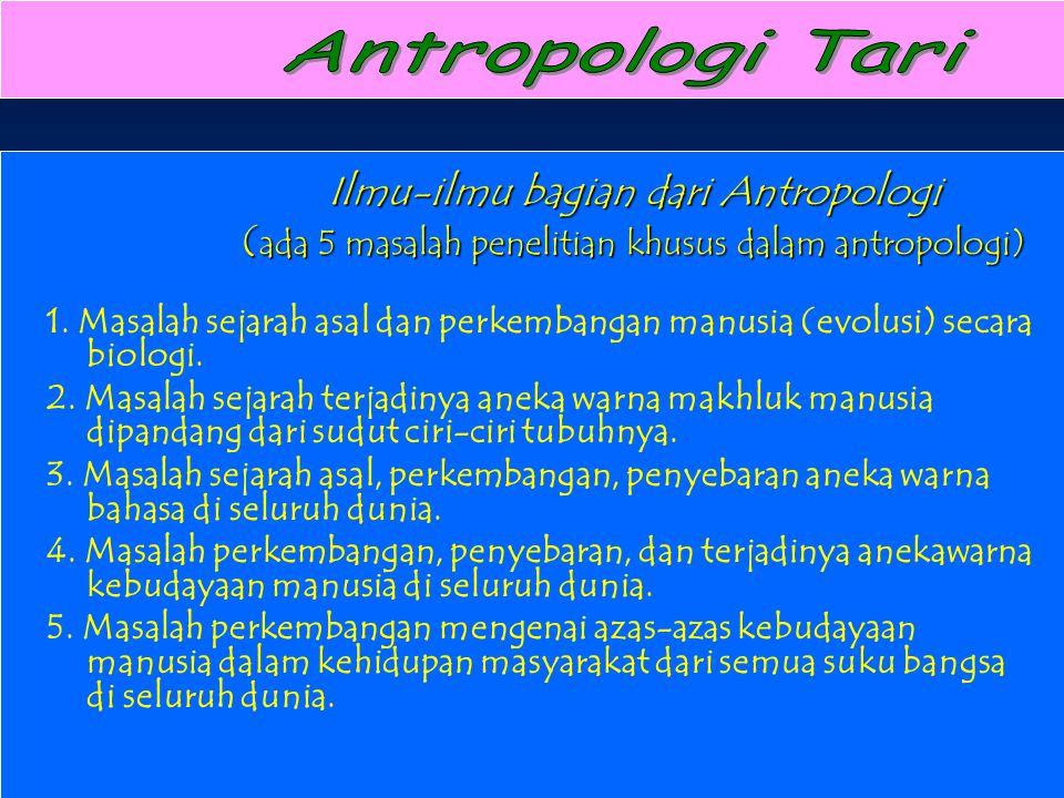 Antropologi Tari Ilmu-ilmu bagian dari Antropologi (ada 5 masalah penelitian khusus dalam antropologi)