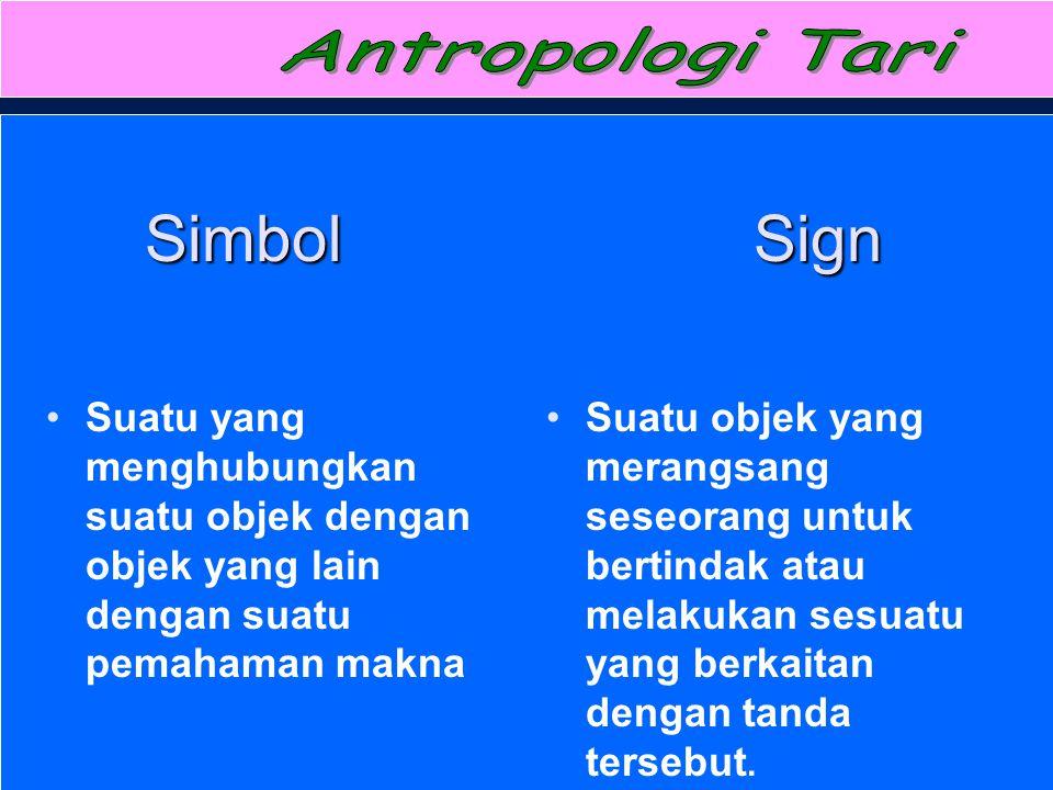 Antropologi Tari Simbol Sign. Suatu yang menghubungkan suatu objek dengan objek yang lain dengan suatu pemahaman makna.