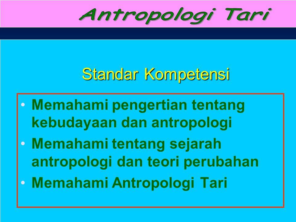 Antropologi Tari Standar Kompetensi. Memahami pengertian tentang kebudayaan dan antropologi.