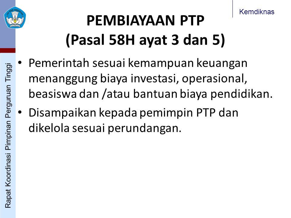 PEMBIAYAAN PTP (Pasal 58H ayat 3 dan 5)