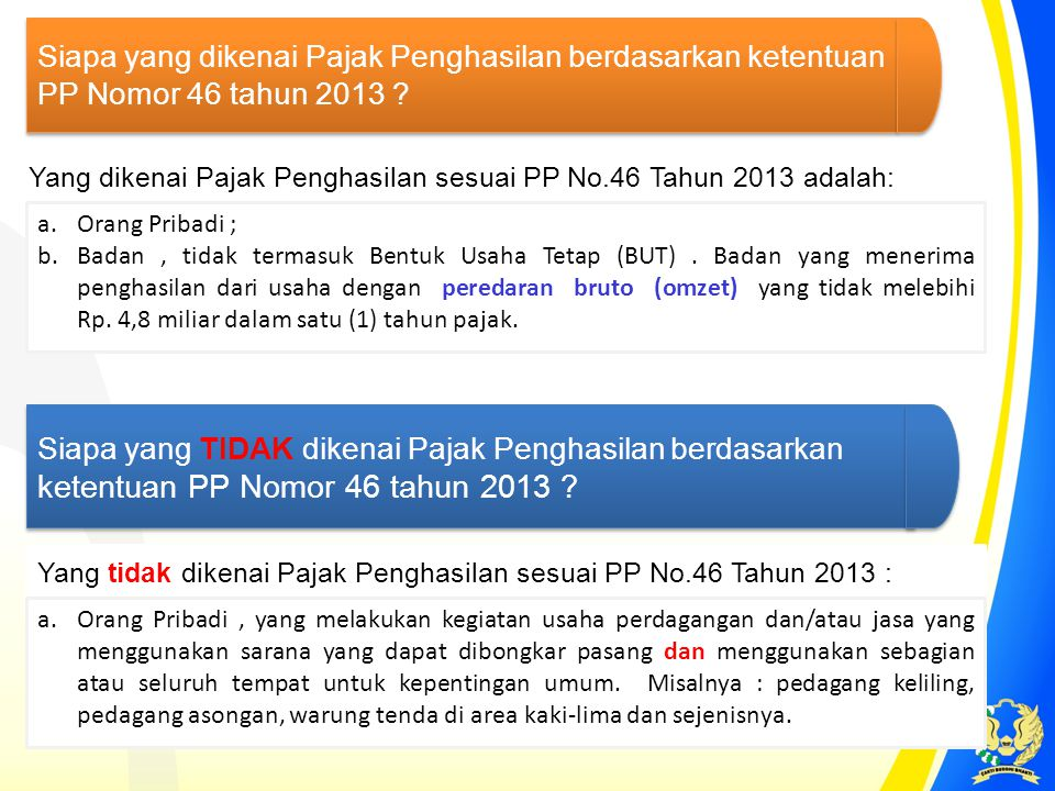 Siapa yang dikenai Pajak Penghasilan berdasarkan ketentuan PP Nomor 46 tahun 2013