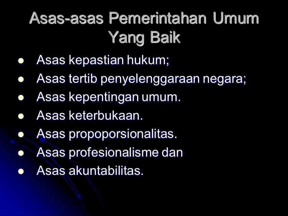 Asas-asas Pemerintahan Umum Yang Baik