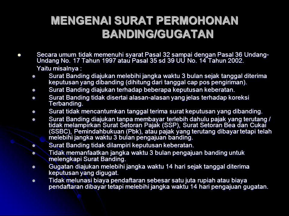 MENGENAI SURAT PERMOHONAN BANDING/GUGATAN