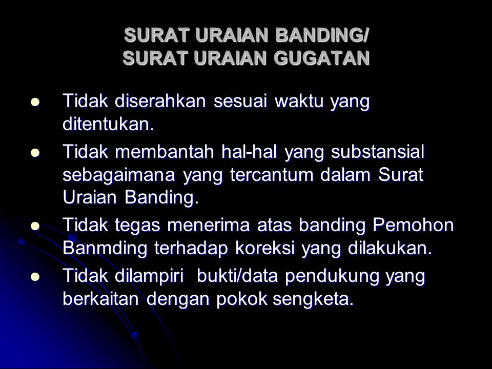 SURAT URAIAN BANDING/ SURAT URAIAN GUGATAN