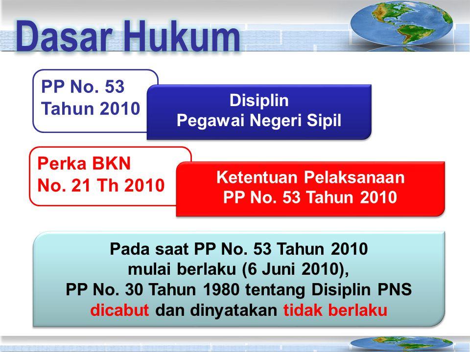 Dasar Hukum PP No. 53 Tahun 2010 Perka BKN No. 21 Th 2010 Disiplin