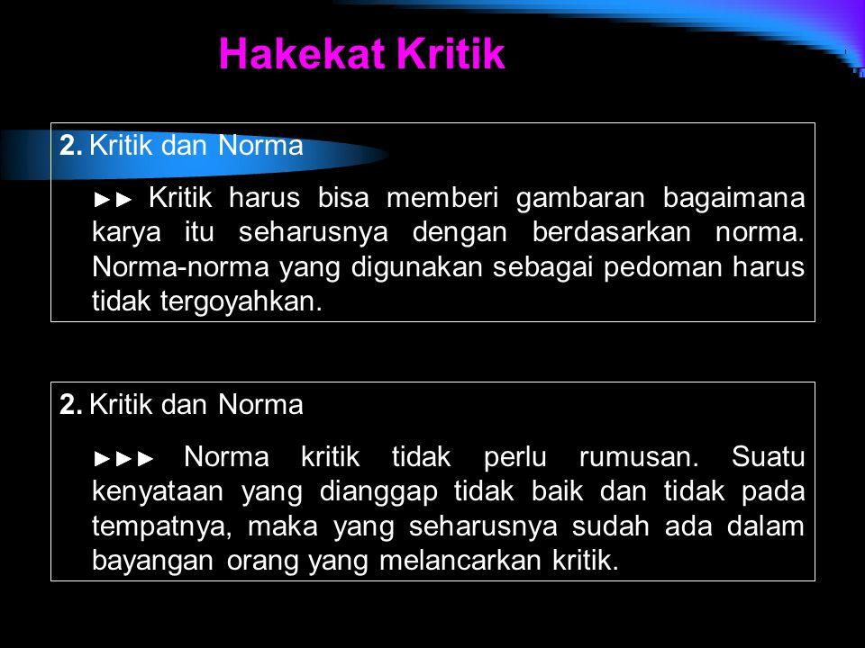 Hakekat Kritik 2. Kritik dan Norma