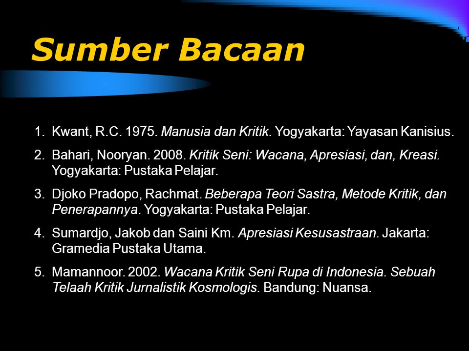 Sumber Bacaan Kwant, R.C. 1975. Manusia dan Kritik. Yogyakarta: Yayasan Kanisius.