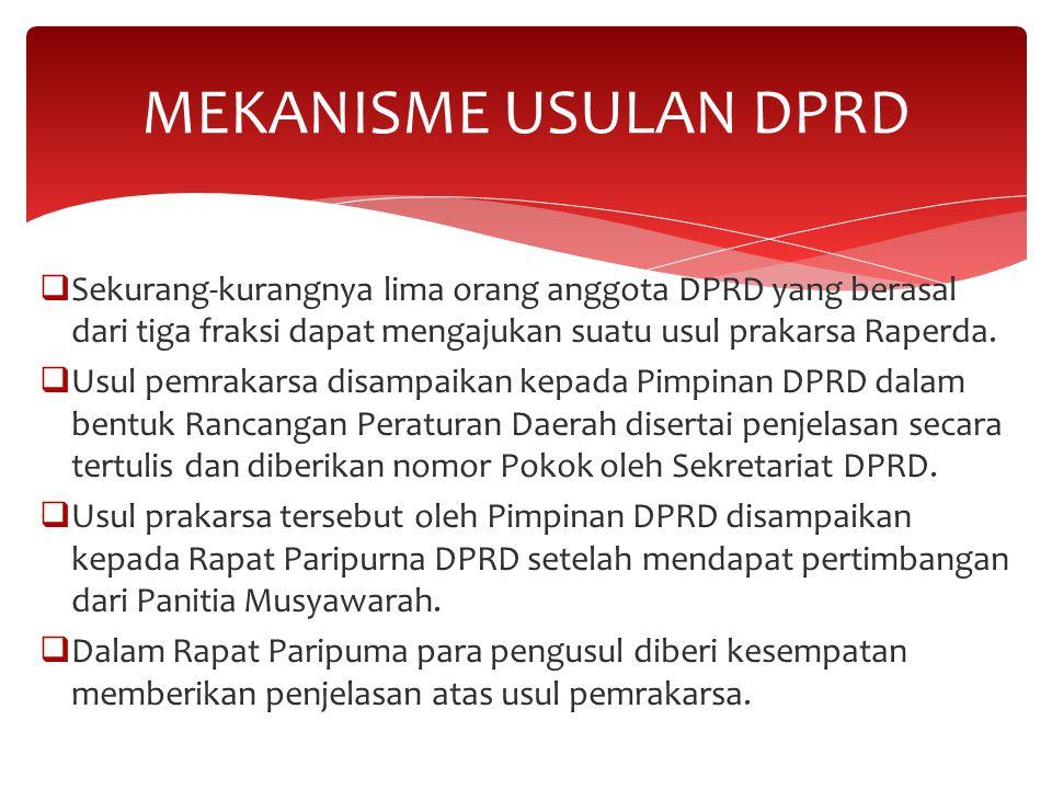 MEKANISME USULAN DPRD Sekurang-kurangnya lima orang anggota DPRD yang berasal dari tiga fraksi dapat mengajukan suatu usul prakarsa Raperda.