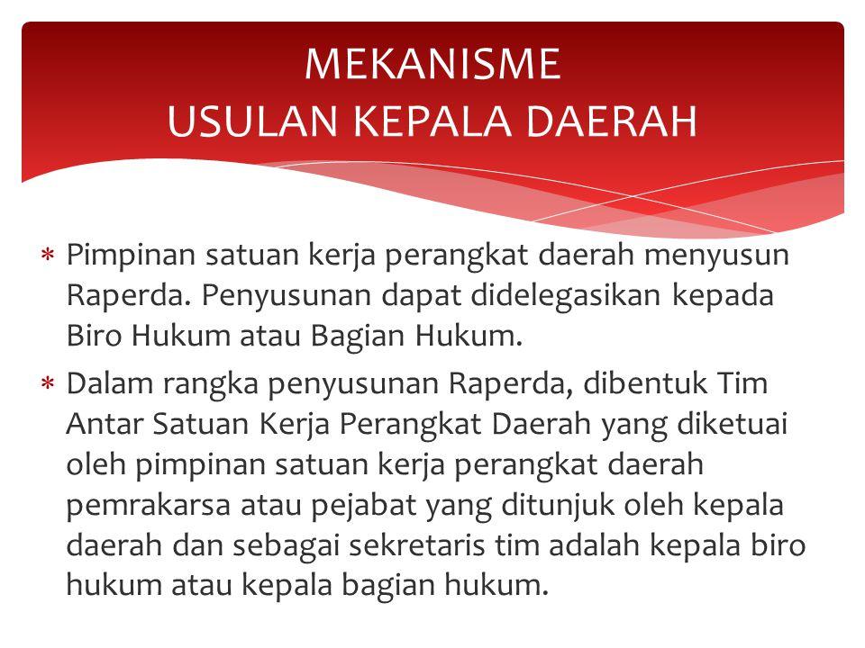 MEKANISME USULAN KEPALA DAERAH