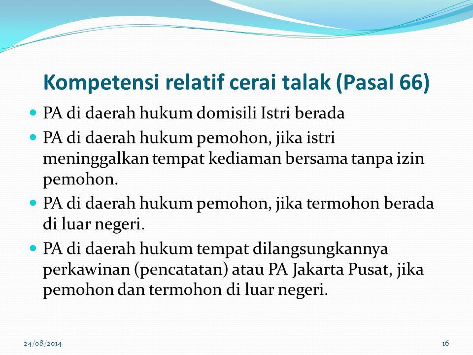 Kompetensi relatif cerai talak (Pasal 66)