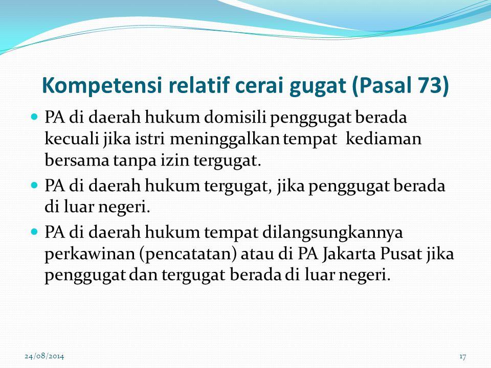 Kompetensi relatif cerai gugat (Pasal 73)