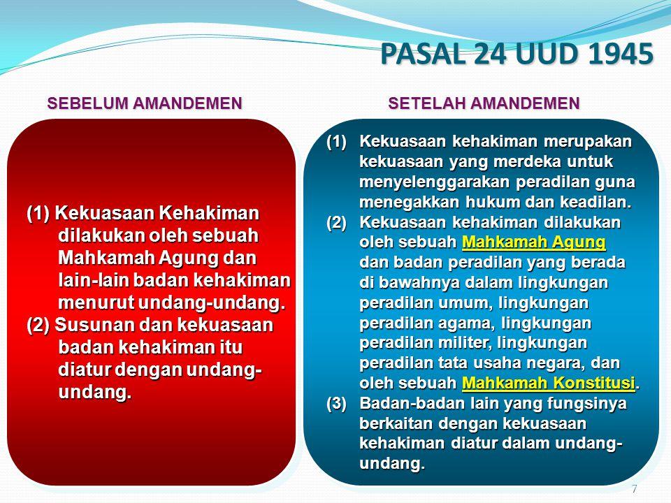 PASAL 24 UUD 1945 (1) Kekuasaan Kehakiman dilakukan oleh sebuah