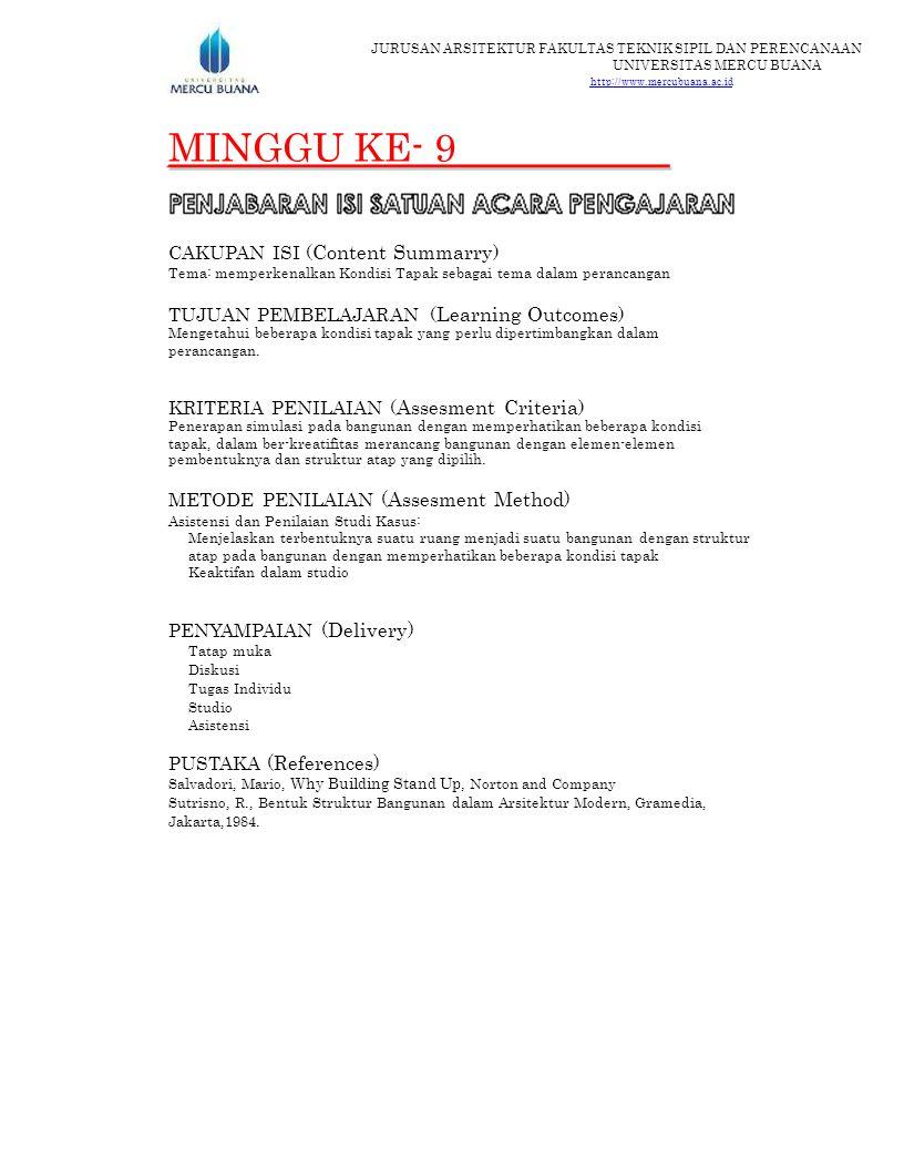 MINGGU KE- 9 CAKUPAN ISI (Content Summarry)