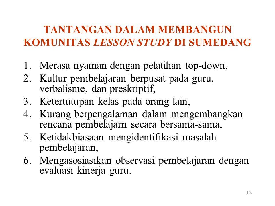 TANTANGAN DALAM MEMBANGUN KOMUNITAS LESSON STUDY DI SUMEDANG