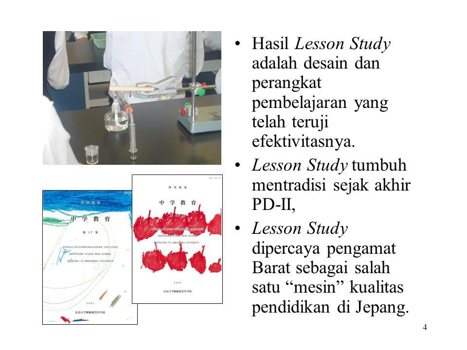 Hasil Lesson Study adalah desain dan perangkat pembelajaran yang telah teruji efektivitasnya.