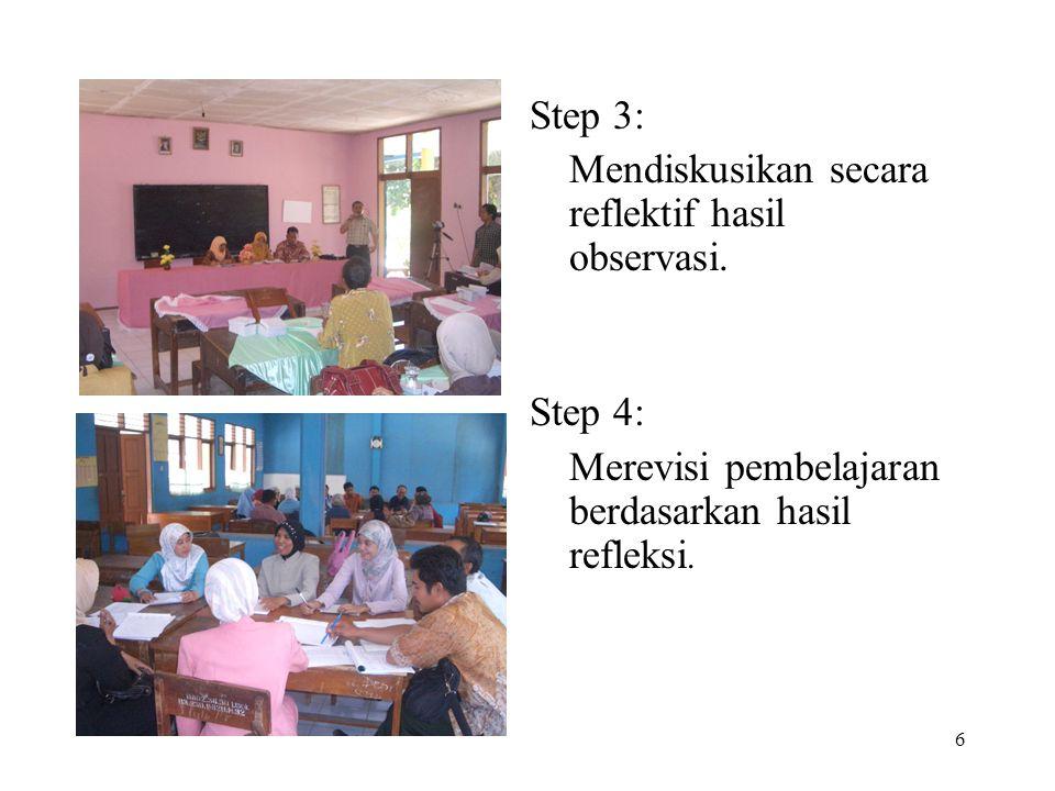 Step 3: Mendiskusikan secara reflektif hasil observasi.