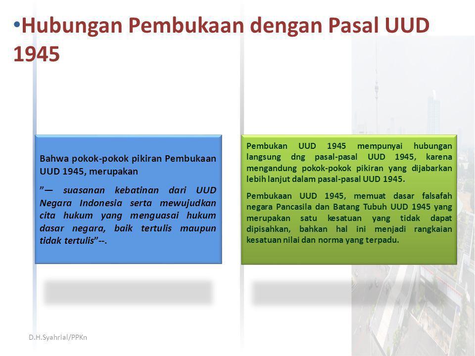 Hubungan Pembukaan dengan Pasal UUD 1945