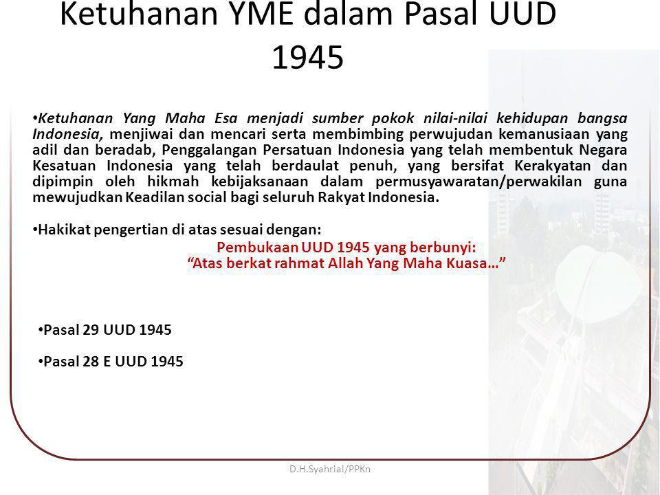 Ketuhanan YME dalam Pasal UUD 1945