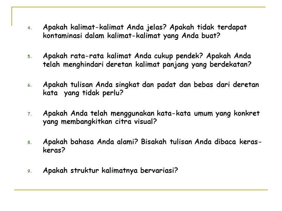 Apakah kalimat-kalimat Anda jelas