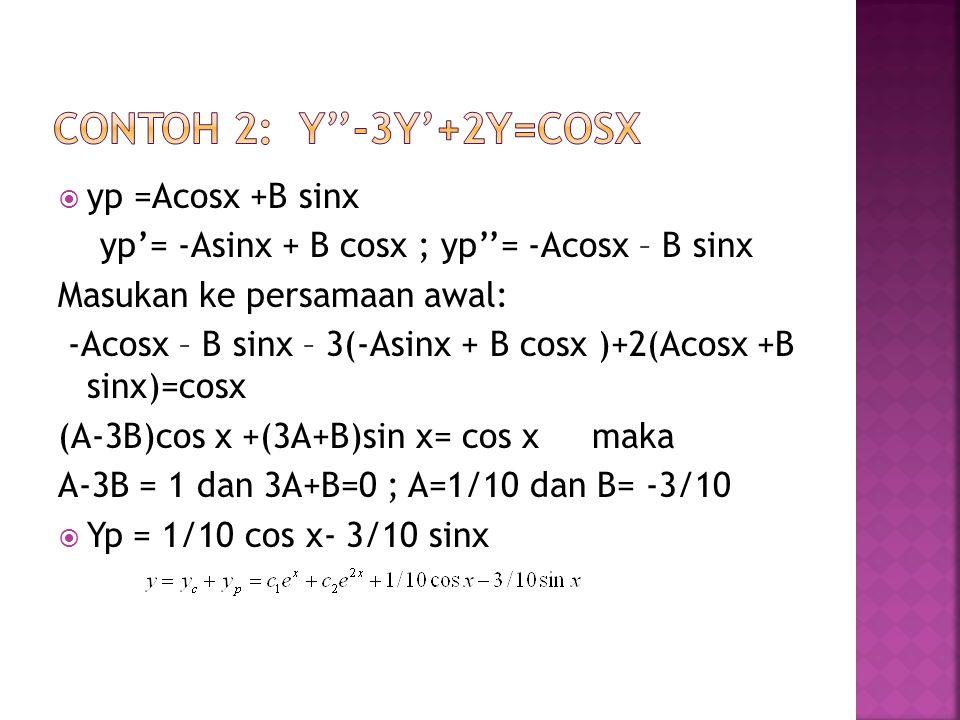 Contoh 2: y''-3y'+2y=cosx