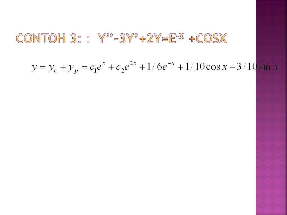 Contoh 3: : y''-3y'+2y=e-x +cosx