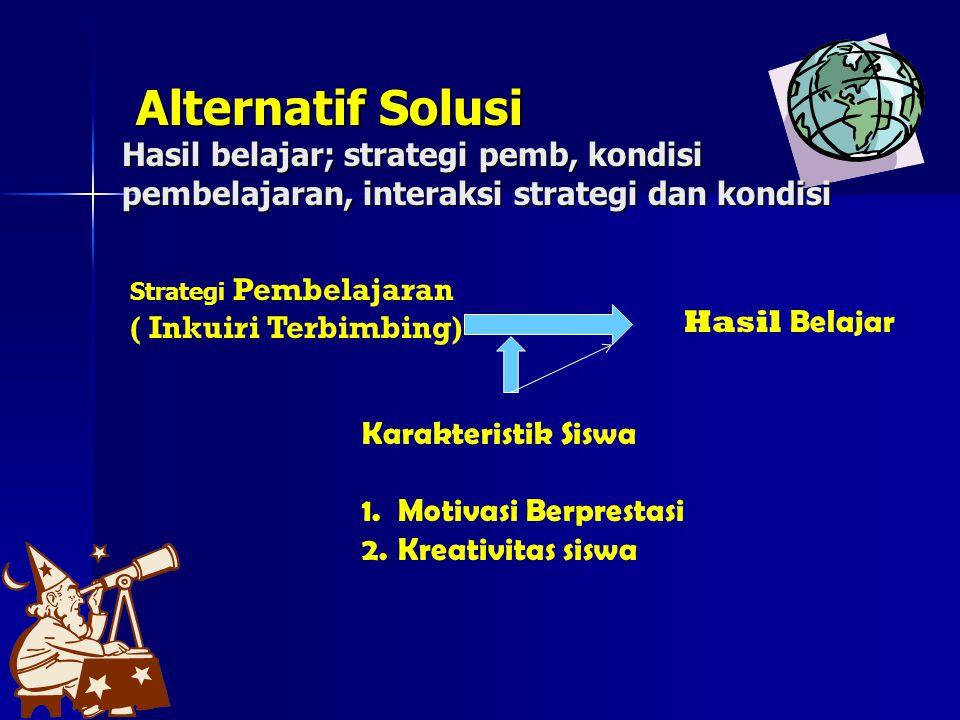Alternatif Solusi Hasil belajar; strategi pemb, kondisi pembelajaran, interaksi strategi dan kondisi
