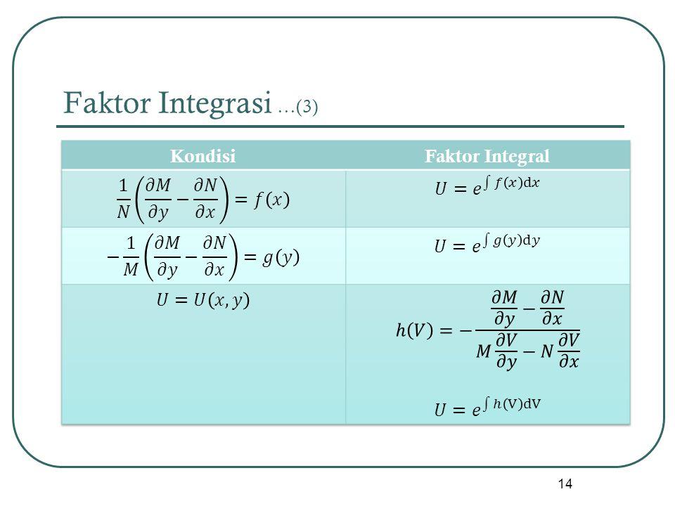 Faktor Integrasi …(3) Kondisi Faktor Integral 1 𝑁 𝜕𝑀 𝜕𝑦 − 𝜕𝑁 𝜕𝑥 =𝑓 𝑥