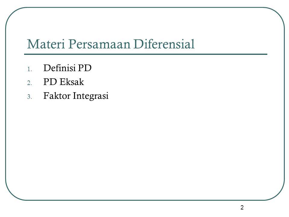 Materi Persamaan Diferensial