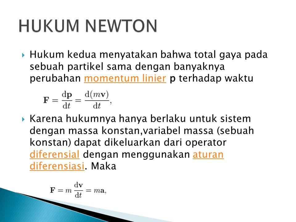 HUKUM NEWTON Hukum kedua menyatakan bahwa total gaya pada sebuah partikel sama dengan banyaknya perubahan momentum linier p terhadap waktu.